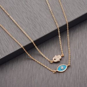Jewelry - Dainty enamel evil eye necklace